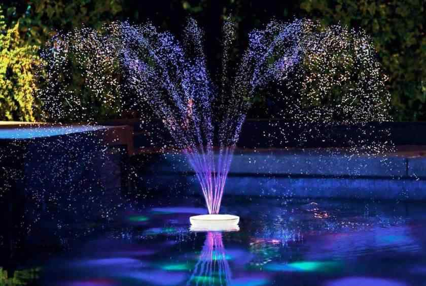 Solar powered fountains with battery and LED lights